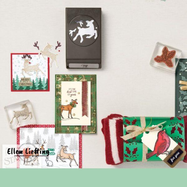 thuis workshop pakket voor kerstkaarten, labels en cadeautjes van Ellen Liefting