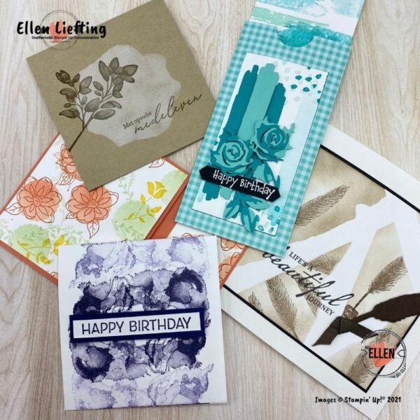 setjes kaarten in verschillende stijlen en doelen van Ellen Liefting.
